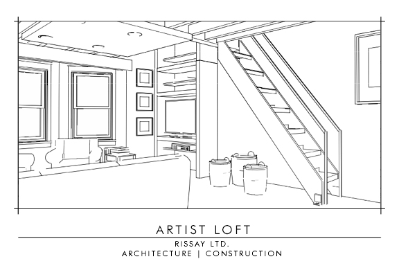 Living Room & Stairs to Loft